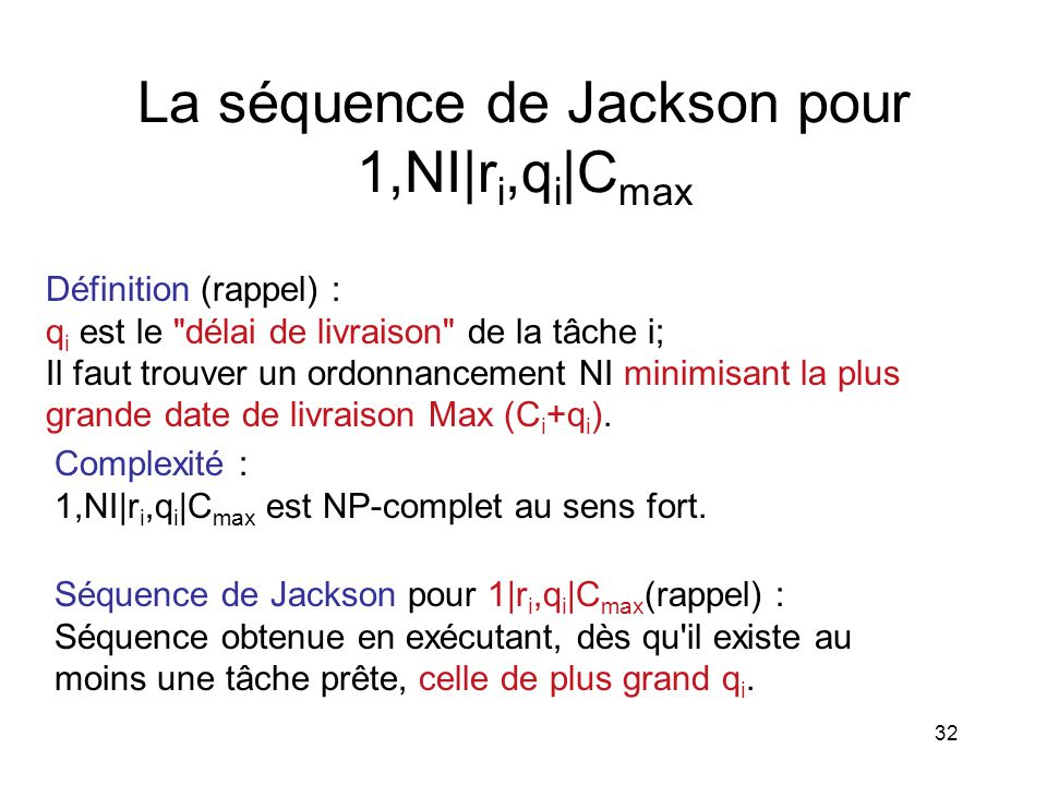 32 La séquence de Jackson pour 1,NI|r i,q i |C max Définition (rappel) : q i est le