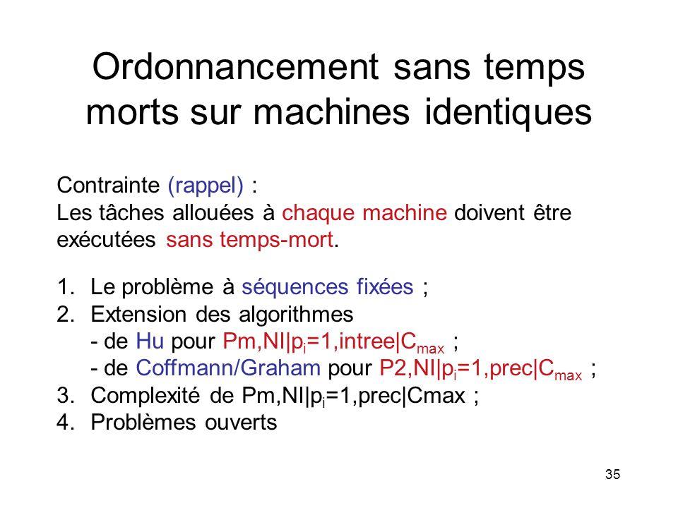35 Ordonnancement sans temps morts sur machines identiques Contrainte (rappel) : Les tâches allouées à chaque machine doivent être exécutées sans temp