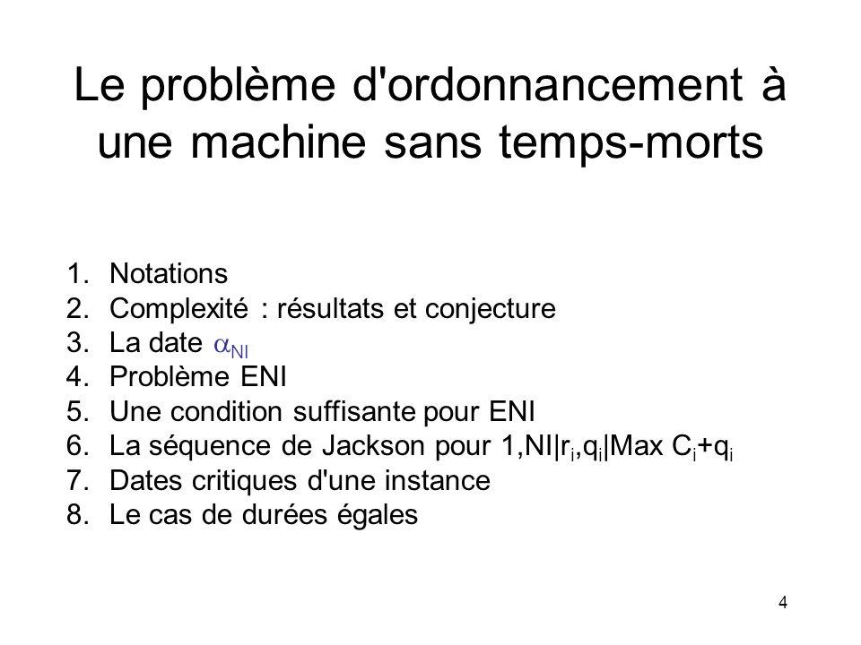 4 Le problème d'ordonnancement à une machine sans temps-morts 1.Notations 2.Complexité : résultats et conjecture 3.La date NI 4.Problème ENI 5.Une con