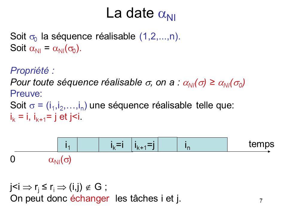 7 La date NI Soit 0 la séquence réalisable (1,2,...,n). Soit NI = NI ( 0 ). Propriété : Pour toute séquence réalisable, on a : NI ( ) NI ( 0 ) Preuve:
