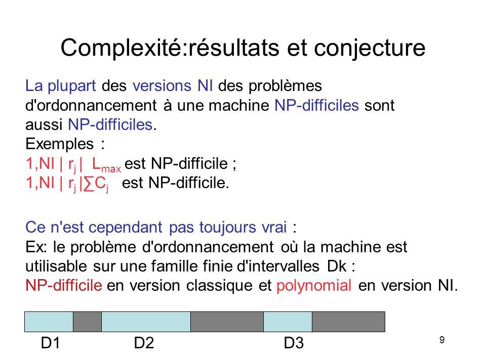 9 Complexité:résultats et conjecture La plupart des versions NI des problèmes d'ordonnancement à une machine NP-difficiles sont aussi NP-difficiles. E