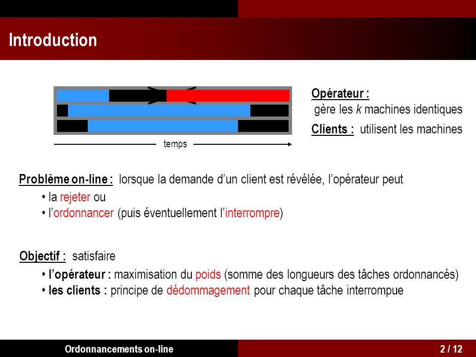 Introduction Opérateur : gère les k machines identiques Clients : utilisent les machines temps Problème on-line : lorsque la demande dun client est ré
