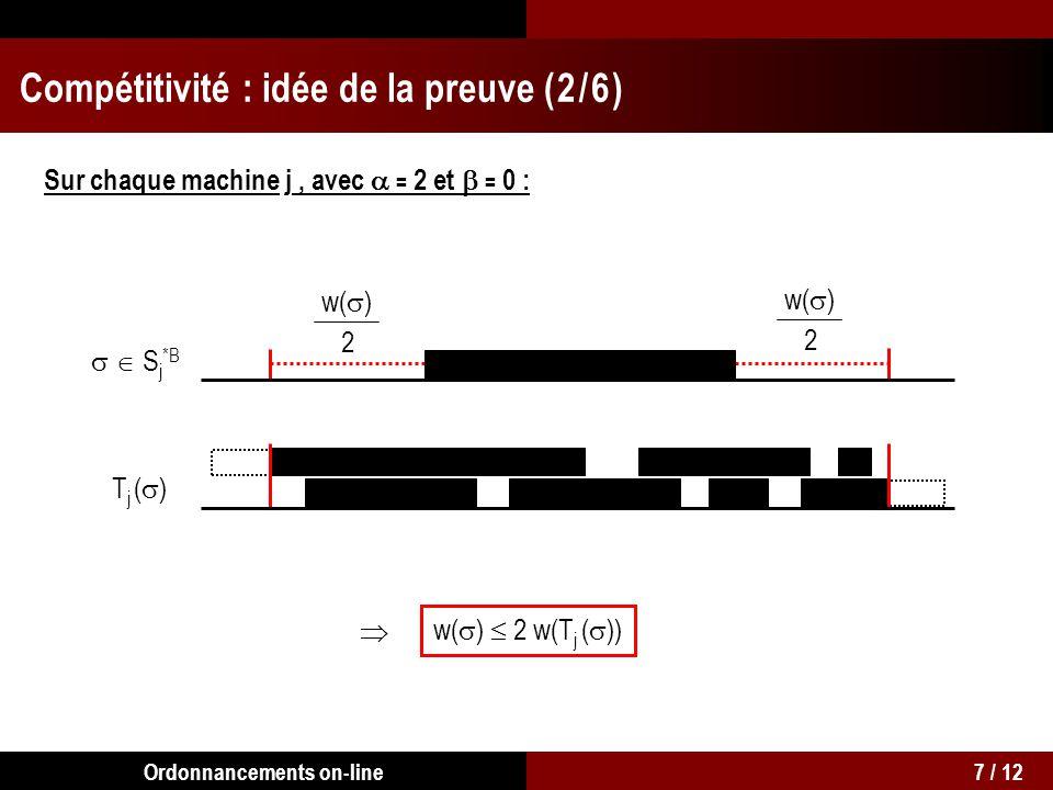 S j *B TjTj S j *B, w( ) 2 w(T j ( )) w(S *B ) 8 w(T) Compétitivité : idée de la preuve ( 3 / 6 ) Sur chaque machine j : 8 / 12Ordonnancements on-line