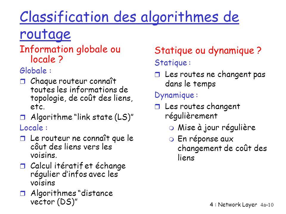 4 : Network Layer4a-10 Classification des algorithmes de routage Information globale ou locale ? Globale : r Chaque routeur connaît toutes les informa