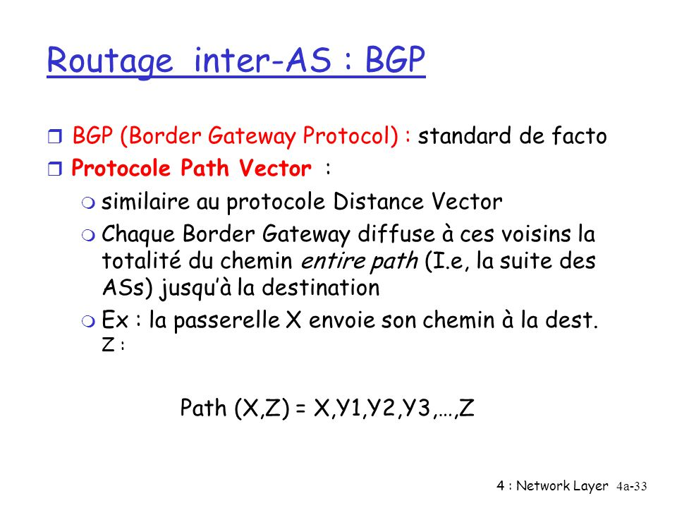 4 : Network Layer4a-33 Routage inter-AS : BGP r BGP (Border Gateway Protocol) : standard de facto r Protocole Path Vector : m similaire au protocole D
