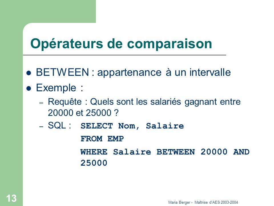 Maria Berger - Maîtrise d'AES 2003-2004 13 Opérateurs de comparaison BETWEEN : appartenance à un intervalle Exemple : – Requête : Quels sont les salar