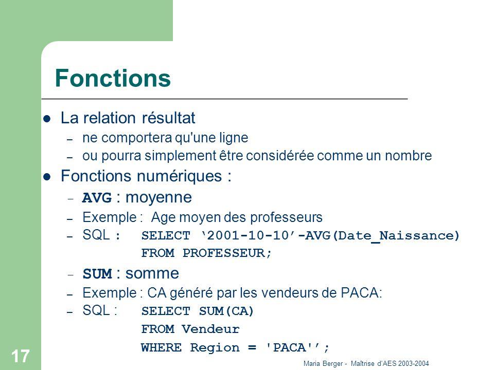 Maria Berger - Maîtrise d'AES 2003-2004 17 Fonctions La relation résultat – ne comportera qu'une ligne – ou pourra simplement être considérée comme un