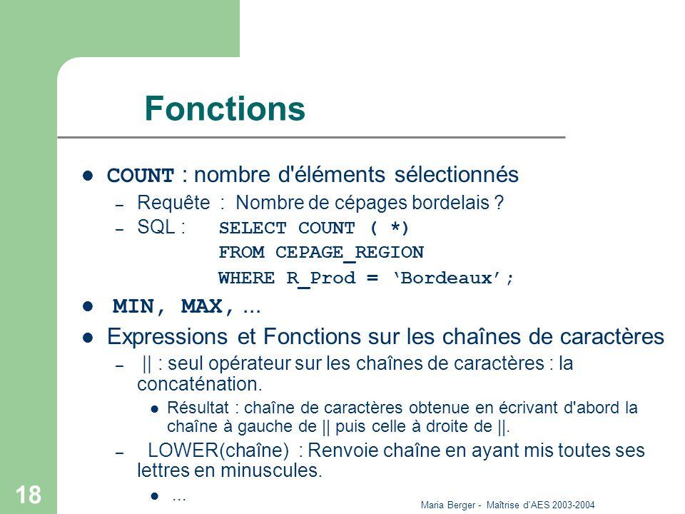 Maria Berger - Maîtrise d'AES 2003-2004 18 Fonctions COUNT : nombre d'éléments sélectionnés – Requête : Nombre de cépages bordelais ? – SQL : SELECT C