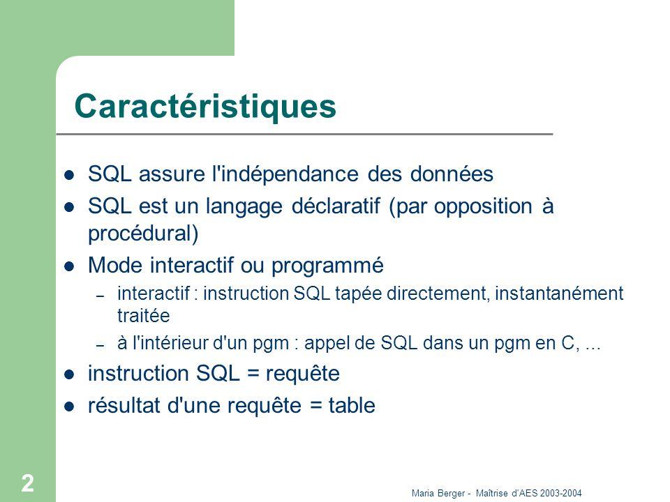 Maria Berger - Maîtrise d'AES 2003-2004 2 Caractéristiques SQL assure l'indépendance des données SQL est un langage déclaratif (par opposition à procé