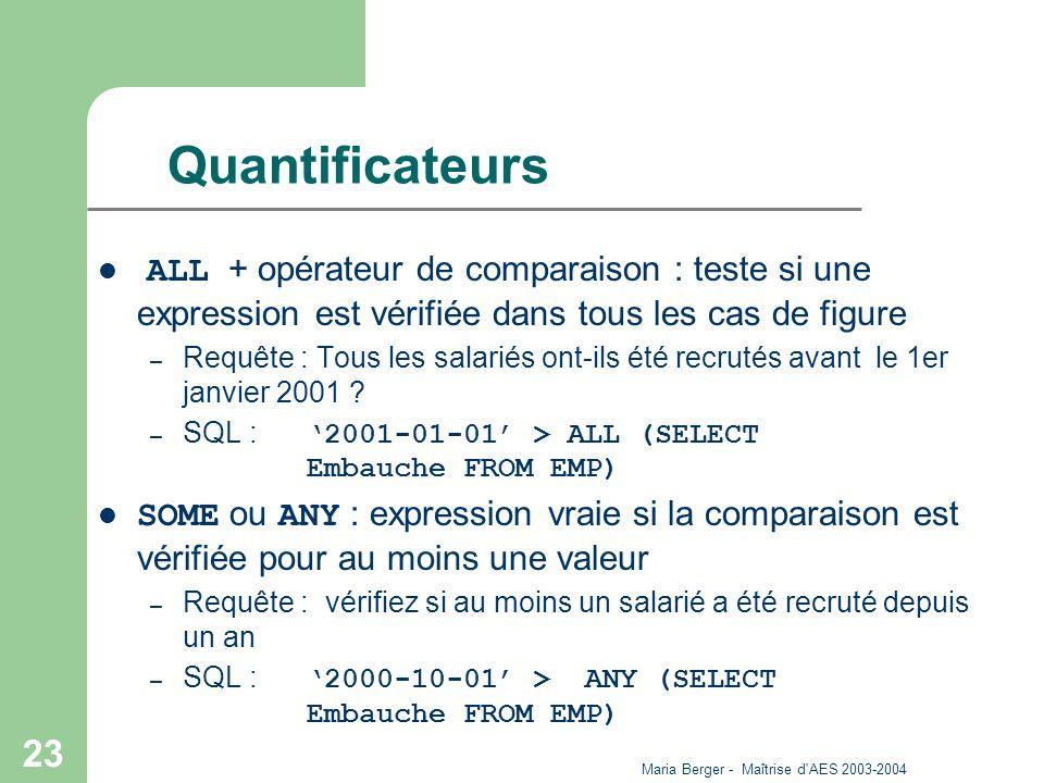 Maria Berger - Maîtrise d'AES 2003-2004 23 Quantificateurs ALL + opérateur de comparaison : teste si une expression est vérifiée dans tous les cas de