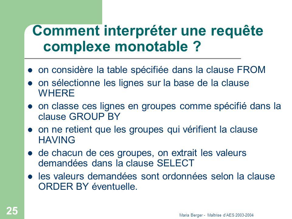 Maria Berger - Maîtrise d'AES 2003-2004 25 Comment interpréter une requête complexe monotable ? on considère la table spécifiée dans la clause FROM on