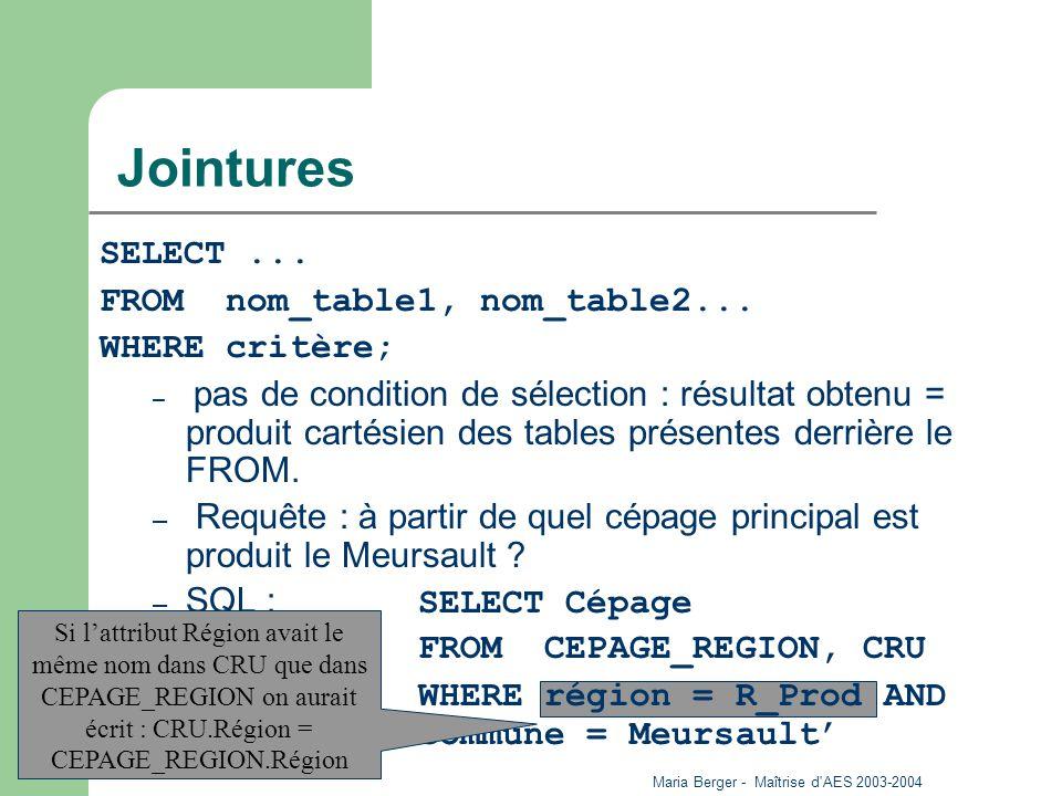 Maria Berger - Maîtrise d'AES 2003-2004 27 Jointures SELECT... FROM nom_table1, nom_table2... WHERE critère; – pas de condition de sélection : résulta