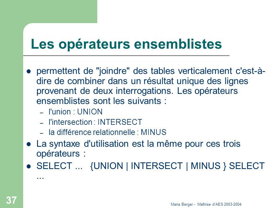 Maria Berger - Maîtrise d'AES 2003-2004 37 Les opérateurs ensemblistes permettent de