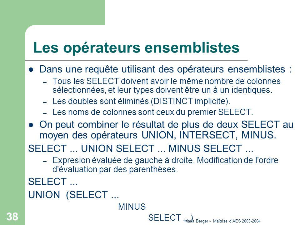 Maria Berger - Maîtrise d'AES 2003-2004 38 Les opérateurs ensemblistes Dans une requête utilisant des opérateurs ensemblistes : – Tous les SELECT doiv