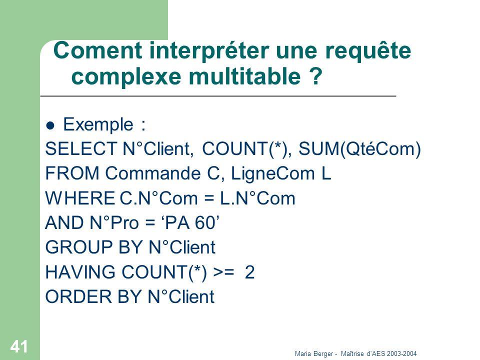 Maria Berger - Maîtrise d'AES 2003-2004 41 Coment interpréter une requête complexe multitable ? Exemple : SELECT N°Client, COUNT(*), SUM(QtéCom) FROM