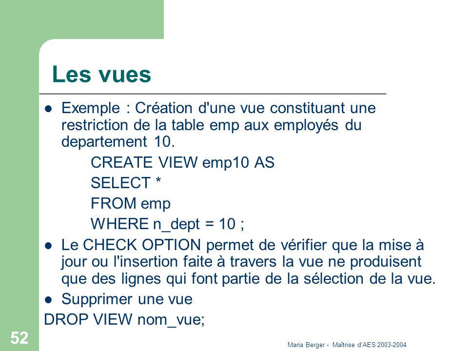 Maria Berger - Maîtrise d'AES 2003-2004 52 Les vues Exemple : Création d'une vue constituant une restriction de la table emp aux employés du departeme