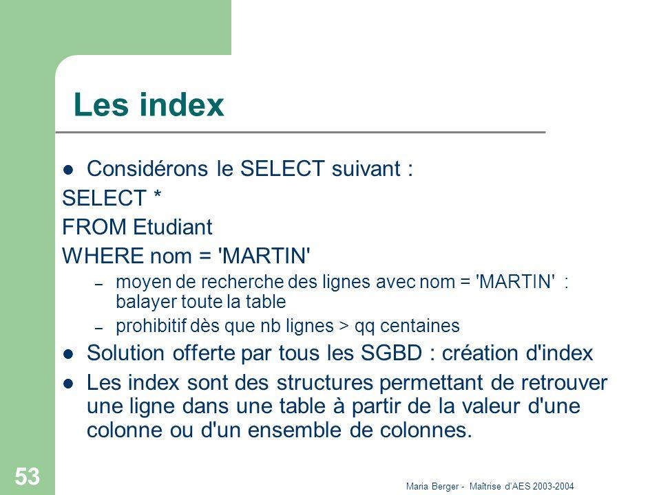 Maria Berger - Maîtrise d'AES 2003-2004 53 Les index Considérons le SELECT suivant : SELECT * FROM Etudiant WHERE nom = 'MARTIN' – moyen de recherche