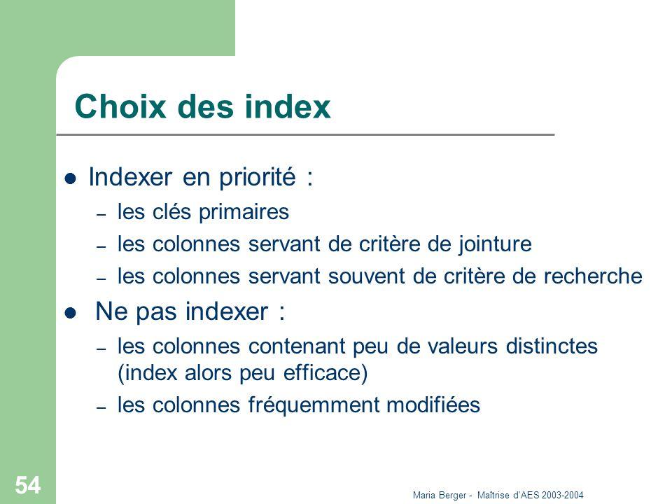 Maria Berger - Maîtrise d'AES 2003-2004 54 Choix des index Indexer en priorité : – les clés primaires – les colonnes servant de critère de jointure –