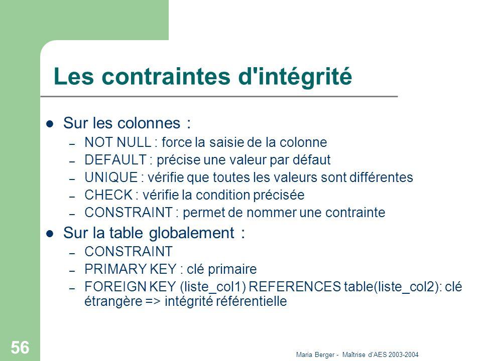 Maria Berger - Maîtrise d'AES 2003-2004 56 Les contraintes d'intégrité Sur les colonnes : – NOT NULL : force la saisie de la colonne – DEFAULT : préci
