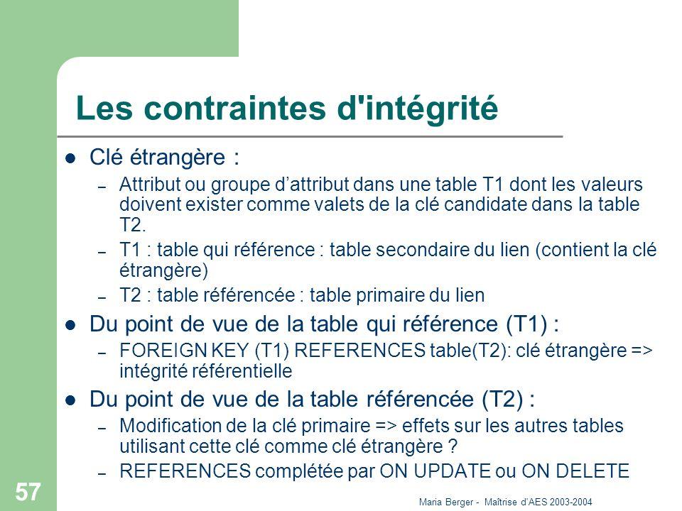 Maria Berger - Maîtrise d'AES 2003-2004 57 Les contraintes d'intégrité Clé étrangère : – Attribut ou groupe dattribut dans une table T1 dont les valeu
