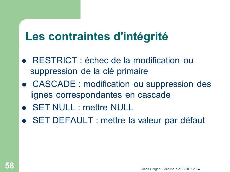 Maria Berger - Maîtrise d'AES 2003-2004 58 Les contraintes d'intégrité RESTRICT : échec de la modification ou suppression de la clé primaire CASCADE :