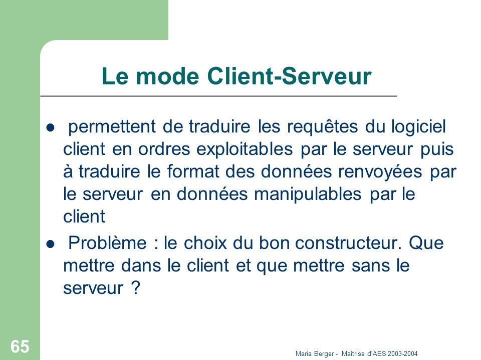 Maria Berger - Maîtrise d'AES 2003-2004 65 Le mode Client-Serveur permettent de traduire les requêtes du logiciel client en ordres exploitables par le