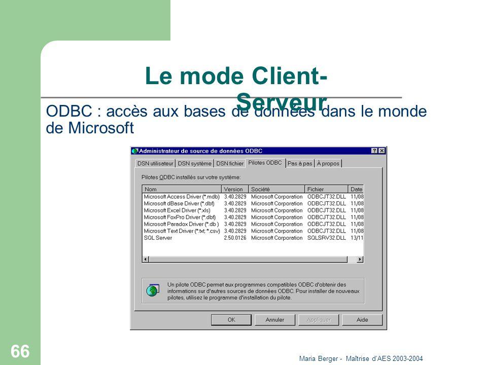 Maria Berger - Maîtrise d'AES 2003-2004 66 ODBC : accès aux bases de données dans le monde de Microsoft Le mode Client- Serveur