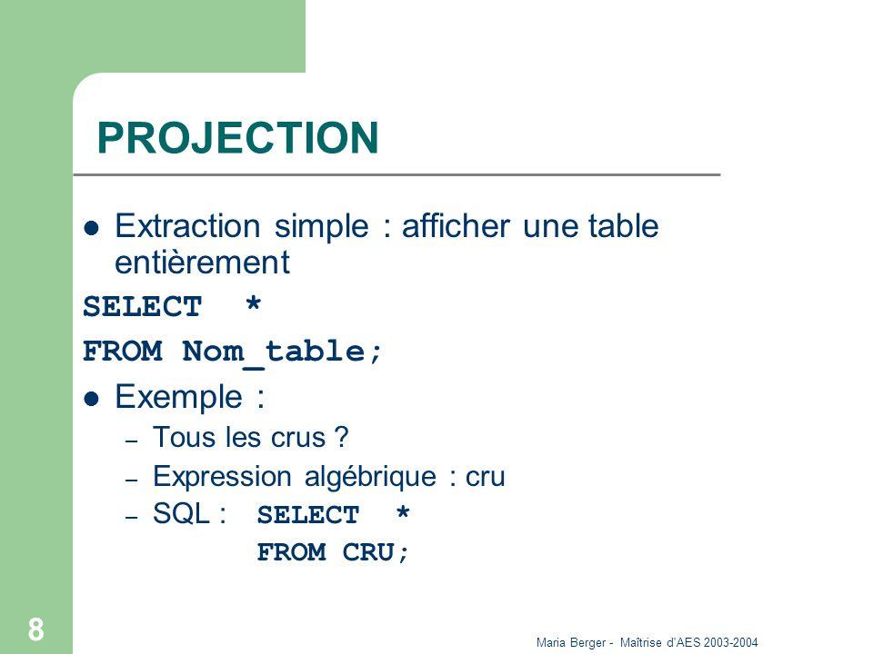 Maria Berger - Maîtrise d AES 2003-2004 9 PROJECTION SELECT Nom_Col1,..., Nom_ColN FROM Nom_table; Exemple : Requête : Liste des noms de crus Algèbre : Nom_Cru (CRU) SQL : SELECT Nom_Cru FROM CRU La clause DISTINCT permet d éliminer les doublons.