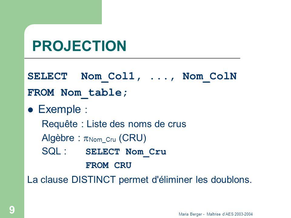 Maria Berger - Maîtrise d AES 2003-2004 10 SELECTION SELECT Nom_Colonne FROM Nom_Table WHERE critère ; Exemple : – Requête : La liste des noms de crus rouges – Algèbre : Nom_Cru ( Coul = rouge (CRU)) – SQL : SELECT Nom_Cru FROM CRU WHERE Coul=Rouge