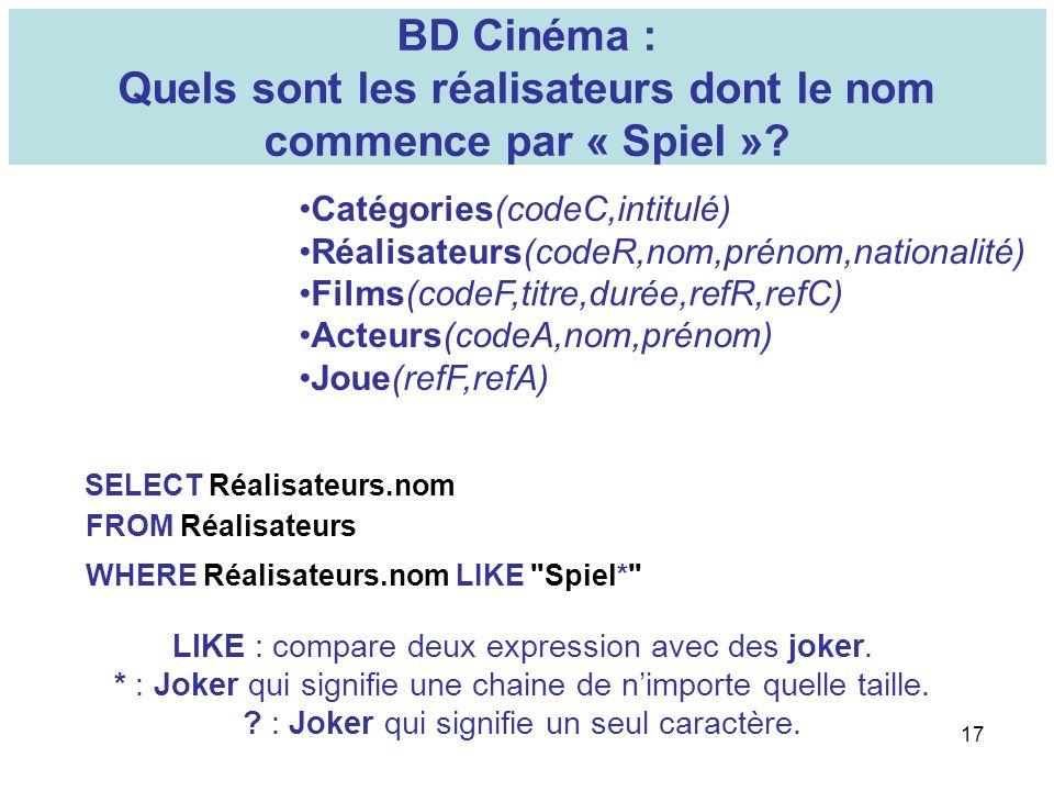 17 BD Cinéma : Quels sont les réalisateurs dont le nom commence par « Spiel »? Catégories(codeC,intitulé) Réalisateurs(codeR,nom,prénom,nationalité) F