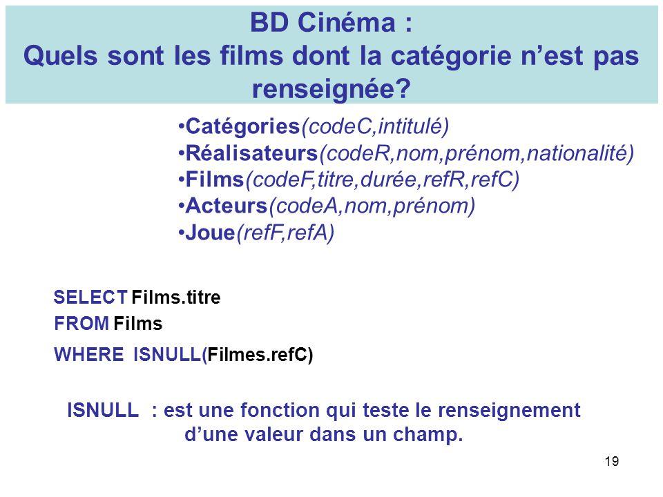 19 BD Cinéma : Quels sont les films dont la catégorie nest pas renseignée? Catégories(codeC,intitulé) Réalisateurs(codeR,nom,prénom,nationalité) Films