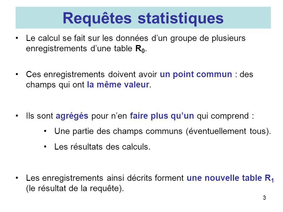 3 Le calcul se fait sur les données dun groupe de plusieurs enregistrements dune table R 0. Ces enregistrements doivent avoir un point commun : des ch