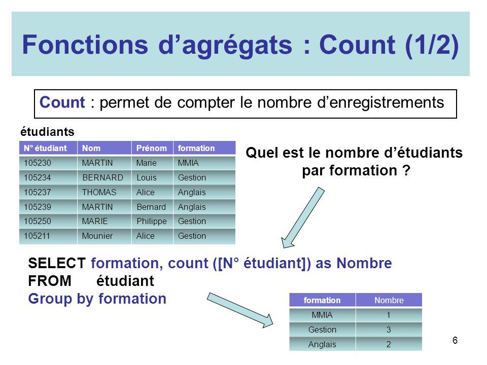 Fonctions dagrégats : Count (1/2) Count : permet de compter le nombre denregistrements Quel est le nombre détudiants par formation ? SELECT formation,