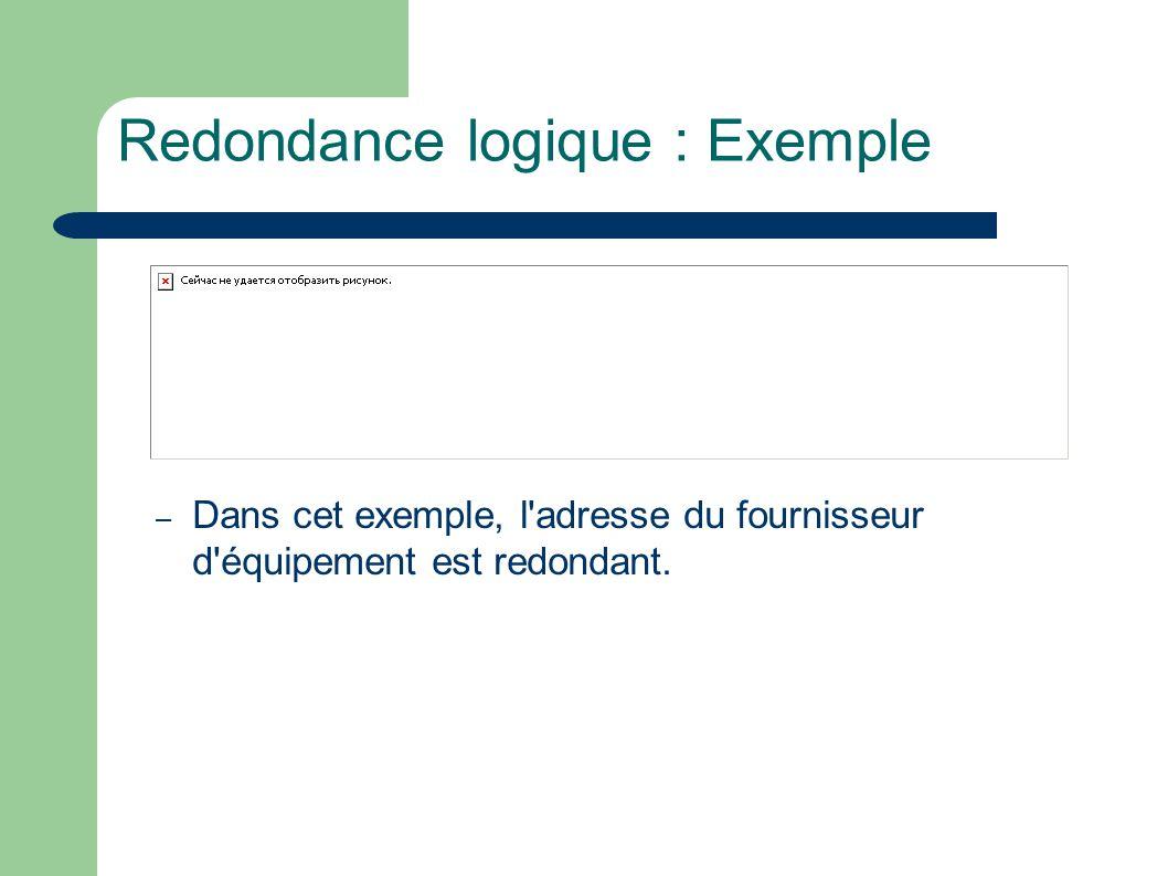 Redondance logique : Exemple – Dans cet exemple, l adresse du fournisseur d équipement est redondant.
