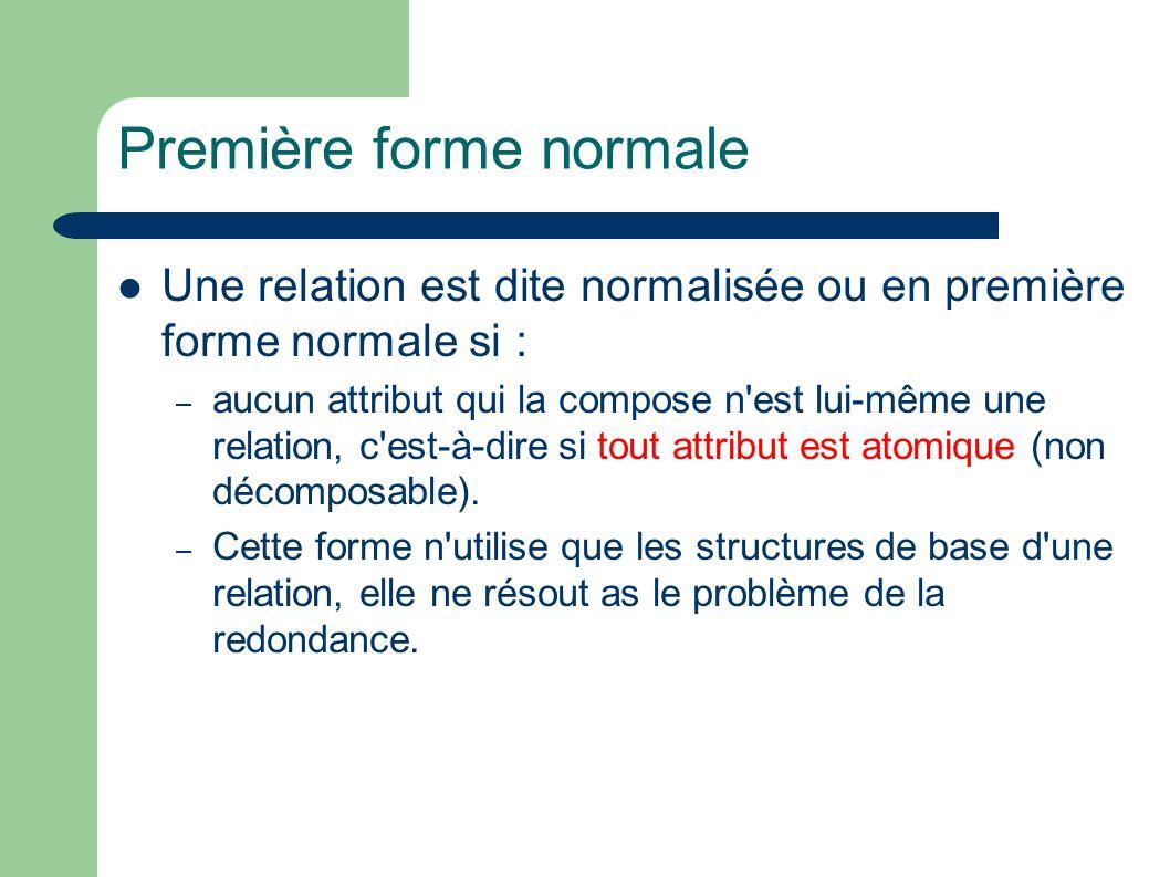 Première forme normale Une relation est dite normalisée ou en première forme normale si : – aucun attribut qui la compose n est lui-même une relation, c est-à-dire si tout attribut est atomique (non décomposable).