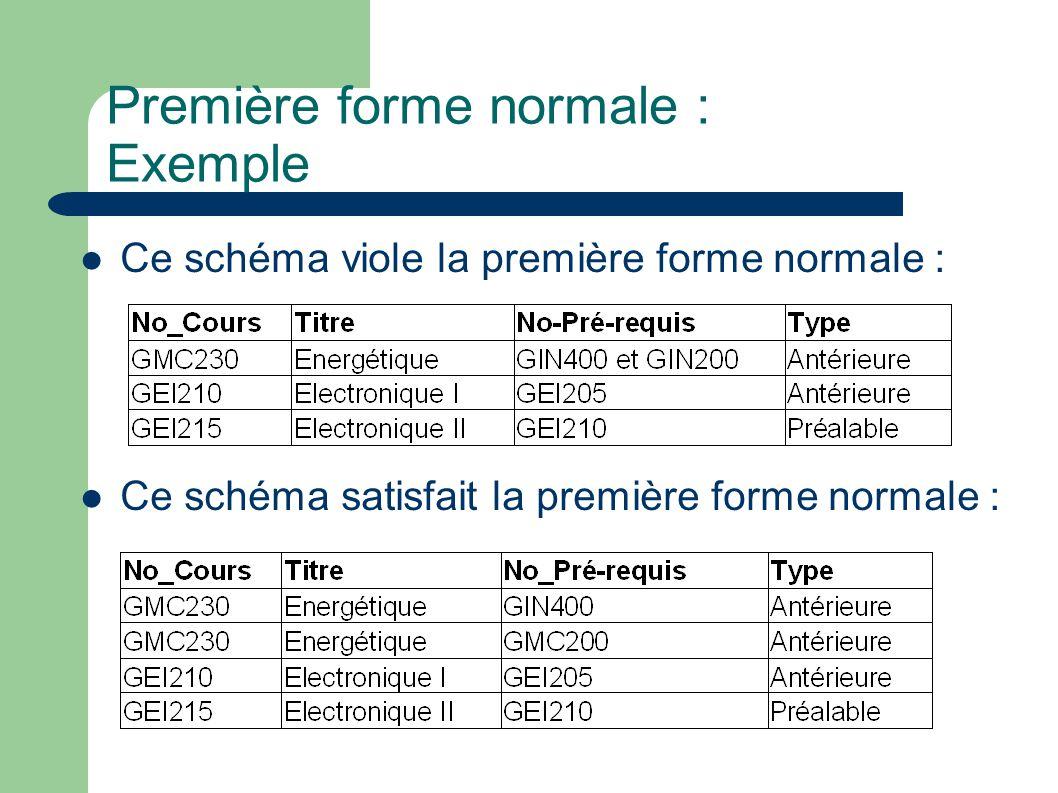 Première forme normale : Exemple Ce schéma viole la première forme normale : Ce schéma satisfait la première forme normale :