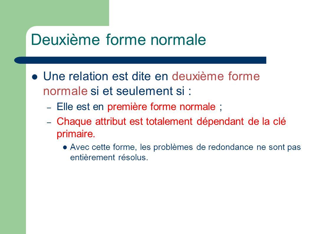 Deuxième forme normale Une relation est dite en deuxième forme normale si et seulement si : – Elle est en première forme normale ; – Chaque attribut est totalement dépendant de la clé primaire.