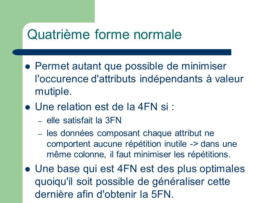 Quatrième forme normale Permet autant que possible de minimiser l occurence d attributs indépendants à valeur mutiple.