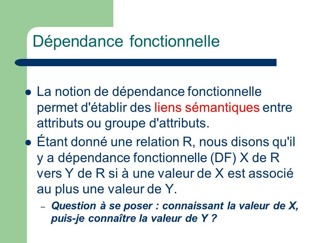 Dépendance fonctionnelle La notion de dépendance fonctionnelle permet d établir des liens sémantiques entre attributs ou groupe d attributs.