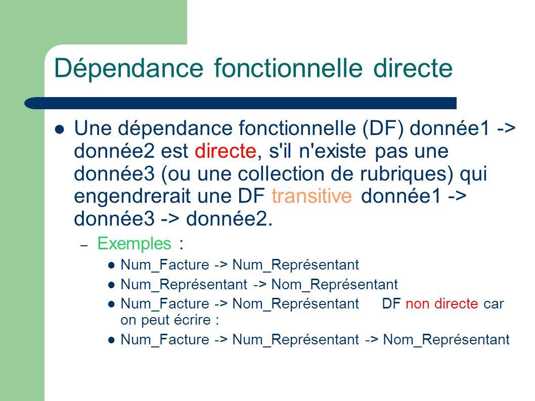 Dépendance fonctionnelle directe Une dépendance fonctionnelle (DF) donnée1 -> donnée2 est directe, s il n existe pas une donnée3 (ou une collection de rubriques) qui engendrerait une DF transitive donnée1 -> donnée3 -> donnée2.