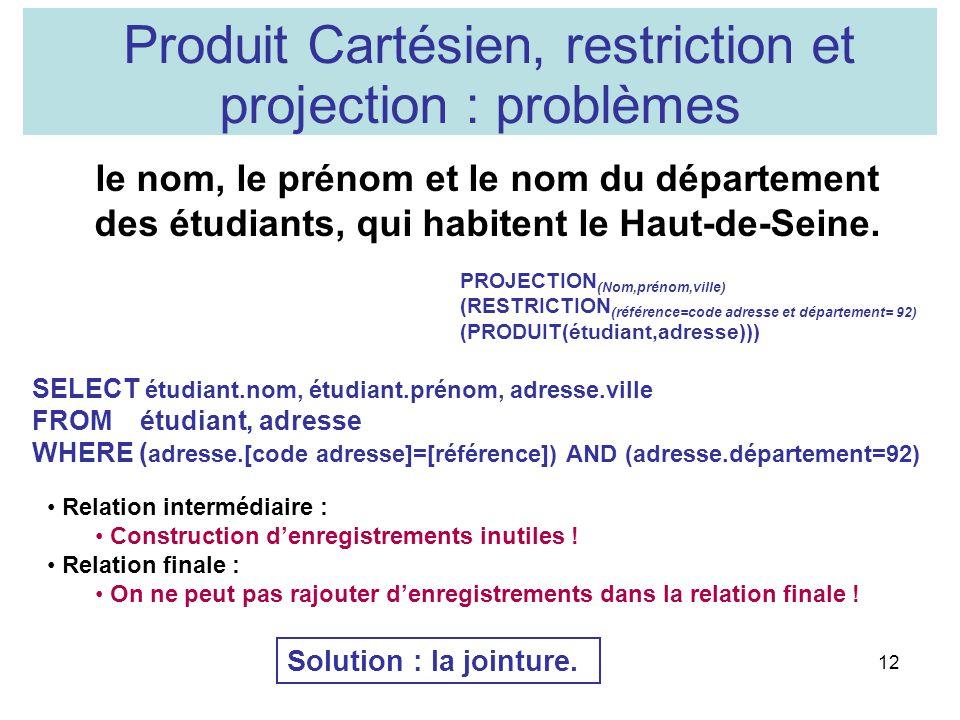 12 Produit Cartésien, restriction et projection : problèmes le nom, le prénom et le nom du département des étudiants, qui habitent le Haut-de-Seine. S