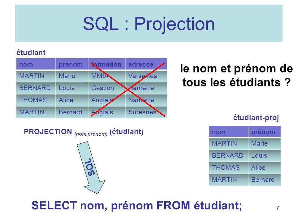 nomprénomformationadresse MARTINMarieMMIAVersailles BERNARDLouisGestionNanterre THOMASAliceAnglaisNanterre MARTINBernardAnglaisSuresnes 7 SQL : Projec