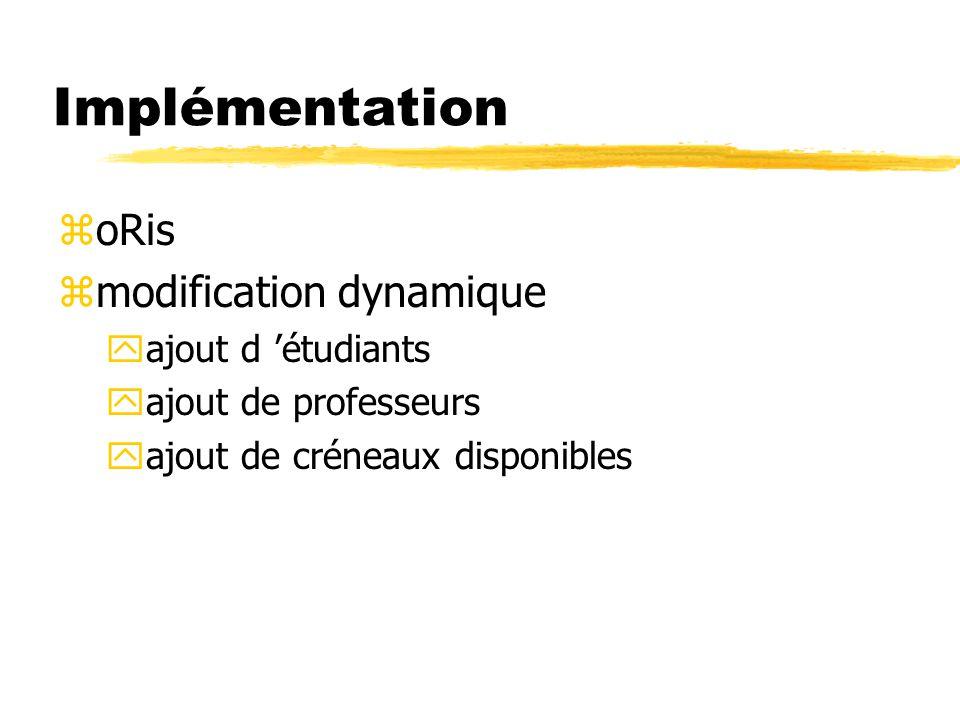 Implémentation zoRis zmodification dynamique yajout d étudiants yajout de professeurs yajout de créneaux disponibles