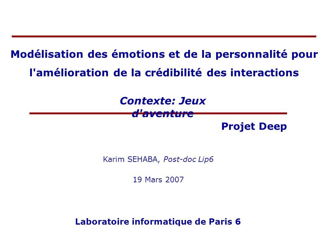 Modélisation des émotions et de la personnalité pour l'amélioration de la crédibilité des interactions Karim SEHABA, Post-doc Lip6 19 Mars 2007 Labora