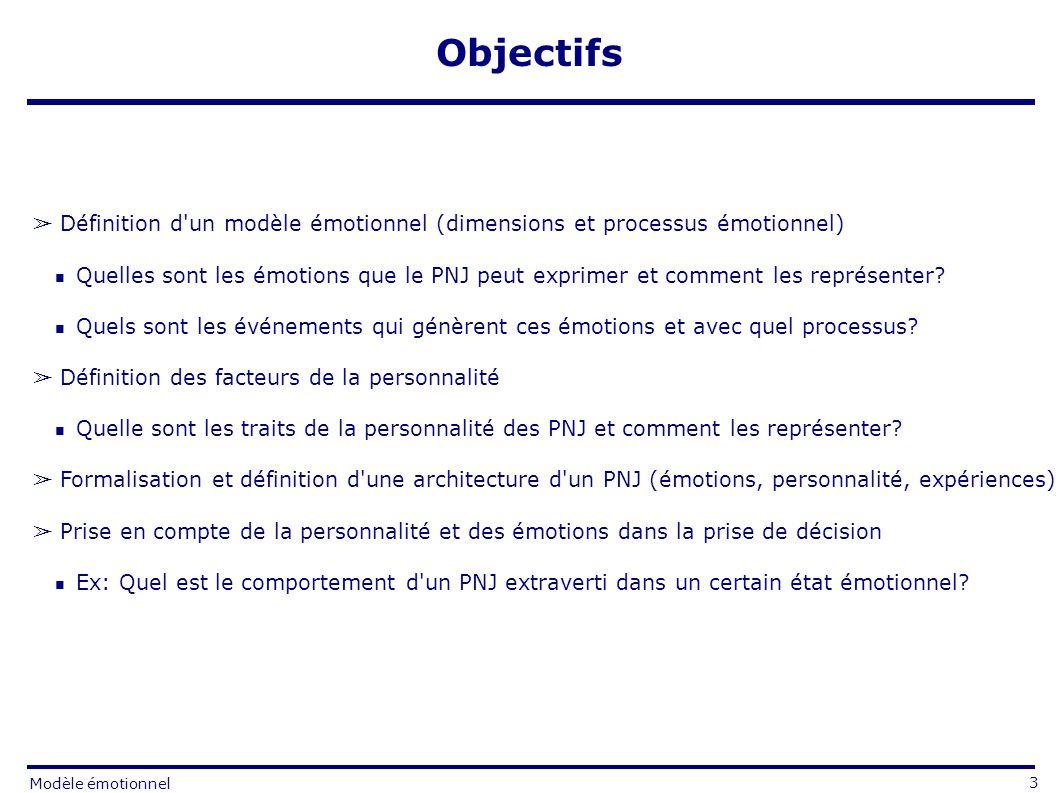 Définition d un modèle émotionnel (dimensions et processus émotionnel) Quelles sont les émotions que le PNJ peut exprimer et comment les représenter.