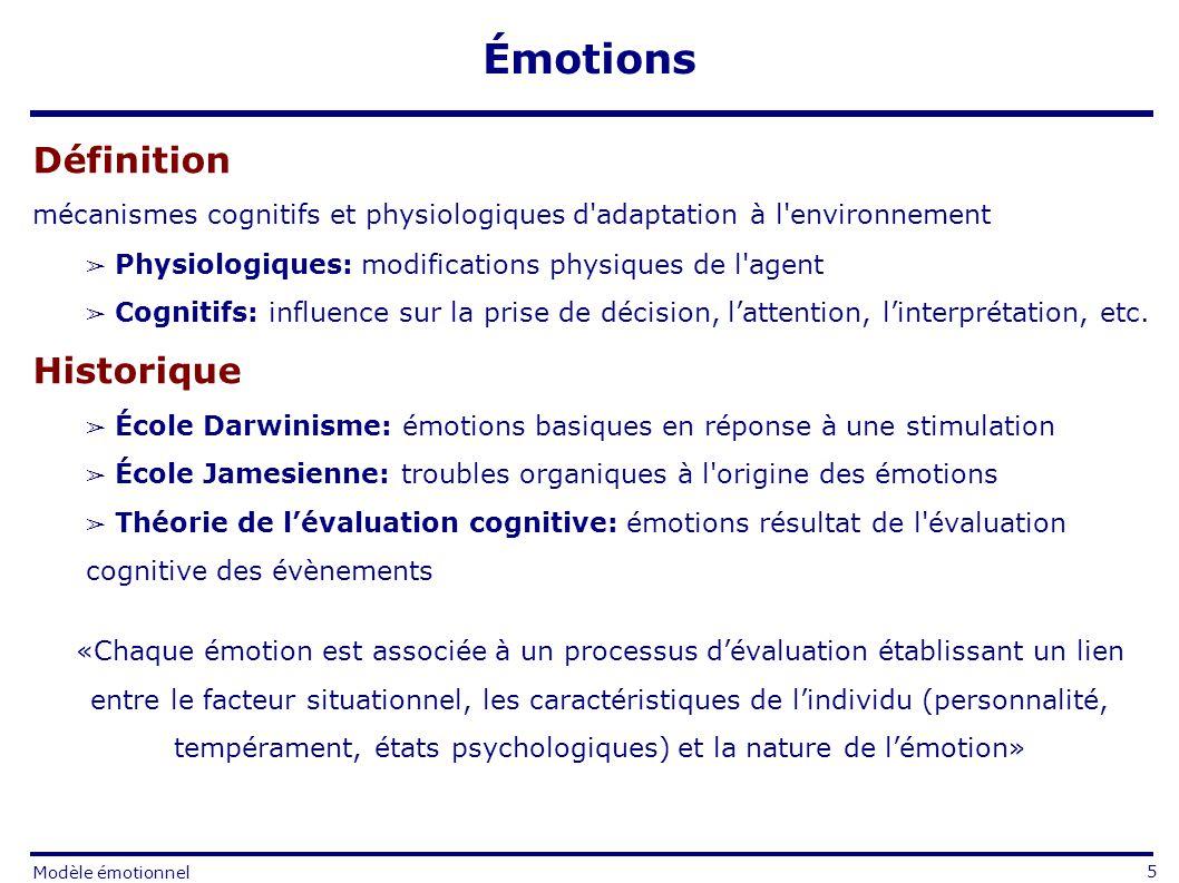 Définition mécanismes cognitifs et physiologiques d adaptation à l environnement Physiologiques: modifications physiques de l agent Cognitifs: influence sur la prise de décision, lattention, linterprétation, etc.