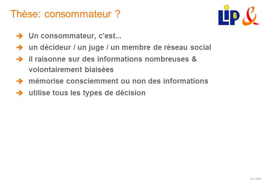 Avril 2006 (22) Thèse: consommateur ? Un consommateur, c'est... un décideur / un juge / un membre de réseau social il raisonne sur des informations no