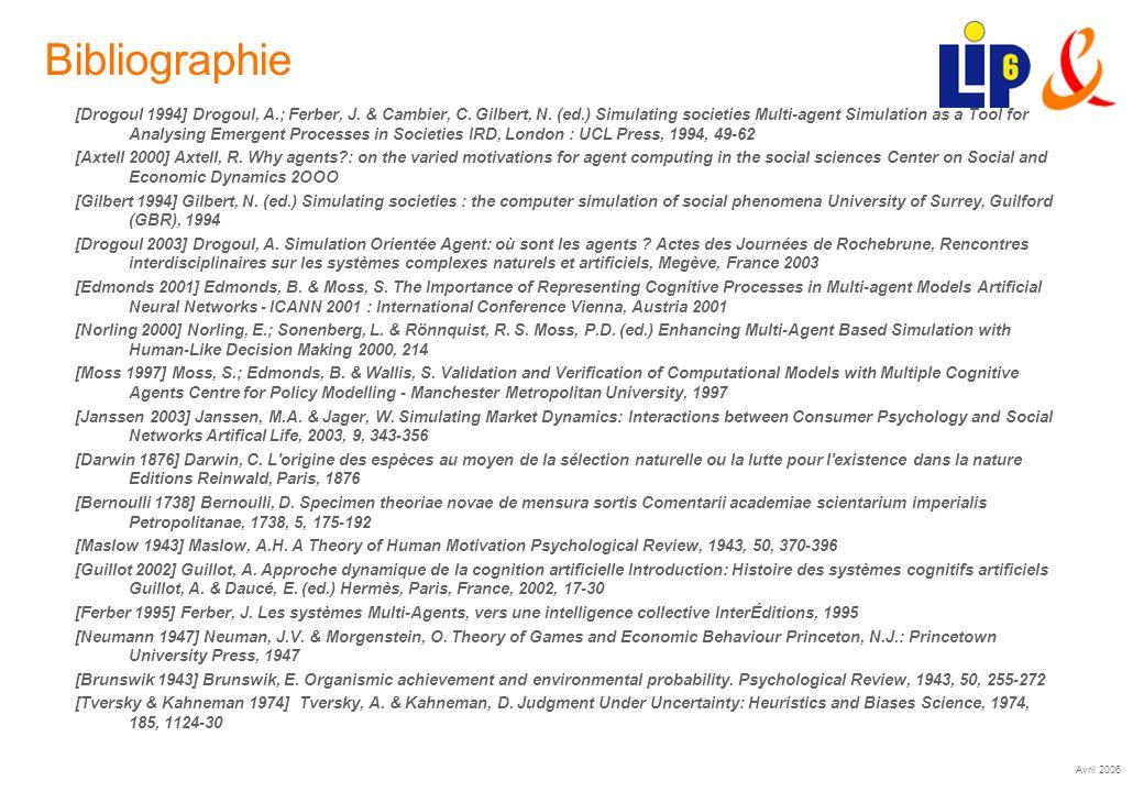 Avril 2006 (29) Bibliographie [Drogoul 1994] Drogoul, A.; Ferber, J. & Cambier, C. Gilbert, N. (ed.) Simulating societies Multi-agent Simulation as a