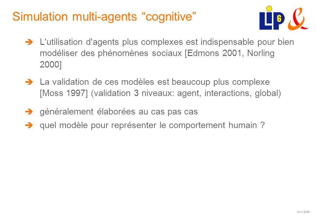 Avril 2006 (5) Simulation multi-agents cognitive L'utilisation d'agents plus complexes est indispensable pour bien modéliser des phénomènes sociaux [E