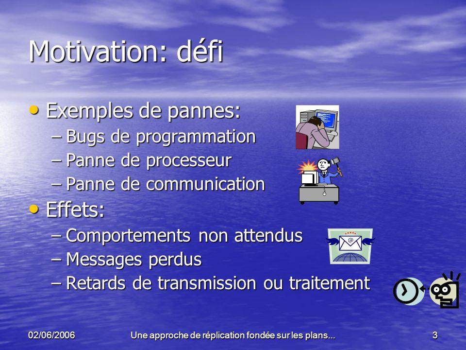 02/06/2006Une approche de réplication fondée sur les plans...3 Motivation: défi Exemples de pannes: Exemples de pannes: –Bugs de programmation –Panne